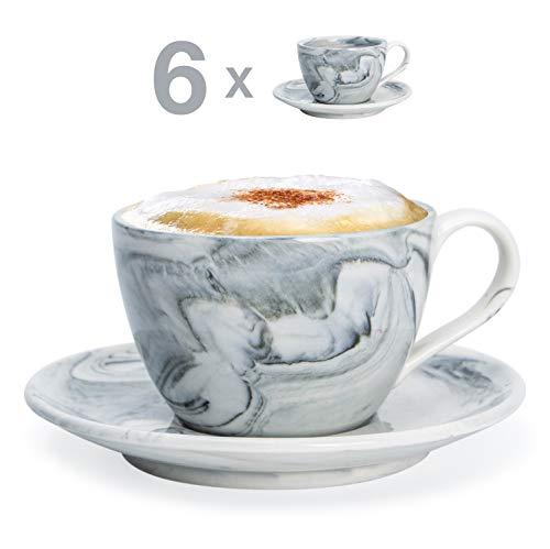 Hausmann & Söhne Cappuccino Tassen dickwandig | Set 12-TLG. | 6er Set Schwarze Marmor Tassen mit Untertasse | Porzellan | Tasse 170 ml (200 ml randvoll) | Geschenk Weihnacht