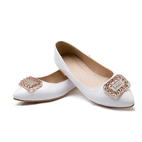 VogueZone009 Femme Non Talon Pointu Couleur Unie Tire Chaussures à Plat Blanc
