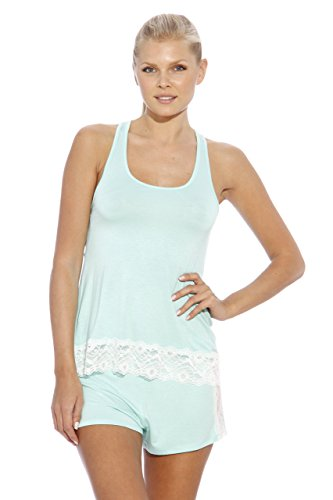 Christian Siriano New York -  Pigiama due pezzi  - Donna Aqua with Lace Trim