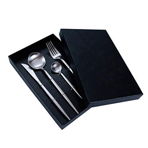 Set di posate servire coltelli cucchiaini da caffè forchette per spaghetti set di coltelli forchetta contenitore per cucchiai e forchette 24 pezzi / set set di posate in acciaio inossidabile nero con