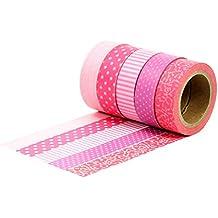 Washi Tape Set 3 - mit 5 Rollen - Rot - Masking Tape zum Bekleben und Verzieren von Geschenken Scrapbooking Verpackungen - von Papierdrachen