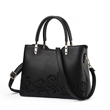 Damenmode bestickt PU Leder Messenger Umhängetaschen Handtaschen/Klt Black