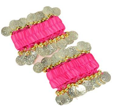 Dance Fairy Belly Dance Handkette Armband Handschmuck Armbänder mit goldfarbenen Münzen (1 Paar, Rose - Zumba-kostüme Für Halloween