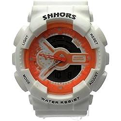 QBD digital-analog Jungen Mädchen Studenten Sport Digital Armbanduhr mit Alarm Stoppuhr Chronograph-50m Wasser Proof-(w-orange)