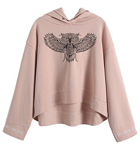 So'each Women's Animal Owl Graphic Hoodie Sweatshirt Batwing (Hoodie Owl)
