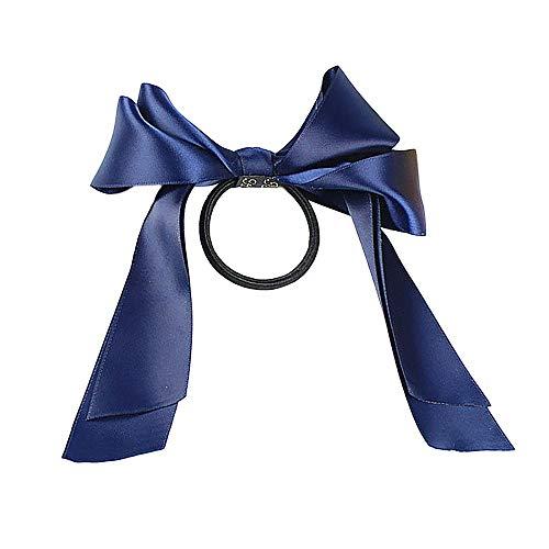 Routinfly Neue Ankunft Frauen Bogen Knoten Haarband Krawatten Seil Ring, Schöne Haar Krawatte Spule Haarleiste Mädchen Damen Haar Zubehör Ringe Haargummibänder Armband (Marine, 1 Stück) -