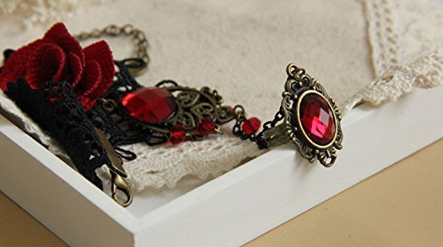 Tia-Ve 1pcs Handmade Retro Black Lace Vampire Slave Pulsera with Fabric Flower and Red Resin Gothic Style