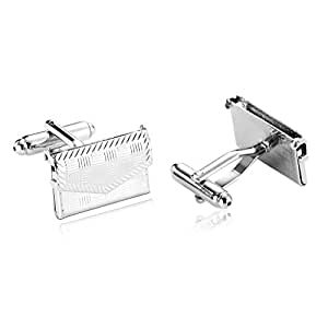 Epinki Men Stainless Steel Executive Cufflinks Classic Tone Opening Purse Hand Bag Silver Cufflinks