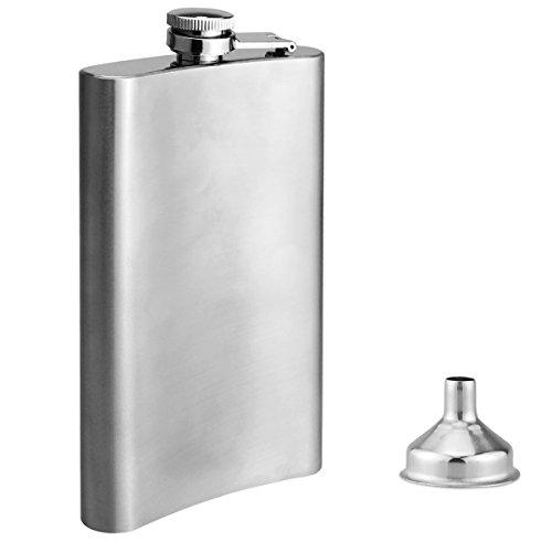 Flachmann, Flasche Alkohol 10oz mit Flachmann Trichter, Edelstahl Alkohol Flasche für die Lagerung Whisky / Alkohol (Silber glatt)