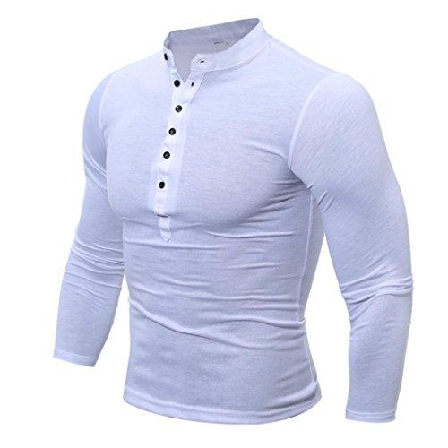 ren Herbst und Winter T Shirt Herren Farbe Tshirt Long Sleeve Top Casual XXXL Weiß ()