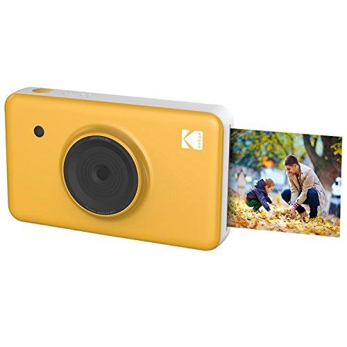Kodak mini shot wireless 2x3 pollici con tecnologia di stampa brevettata a 4 pass 2 in 1 fotocamera digitale a stampa istantanea (giallo)