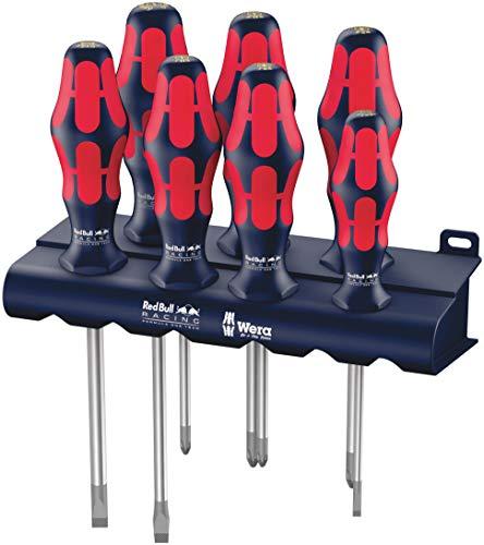 Wera 05227700001 Red Bull Racing Schraubendrehersatz Kraftform Plus Lasertip + Rack, 7 Stück