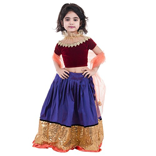 Aglare Girls' Velvet & Net Metallic Lehenga Choli (Bblue Maroon_28_7-8 Years)