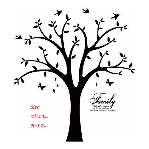 Familie Foto Baum Wand Aufkleber Aufkleber Wohnzimmer Home Aufkleber Bett Baby Zimmer Wandaufkleber, Memory Baum und Vögel, Wandsticker, Schmetterling schwarz