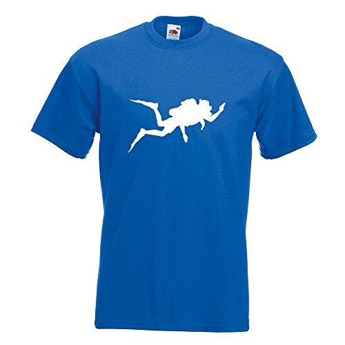 KIWISTAR - Taucher Silhouette T-Shirt in 15 verschiedenen Farben - Herren Funshirt bedruckt Design Sprüche Spruch Motive Oberteil Baumwolle Print Größe S M L XL XXL Royal