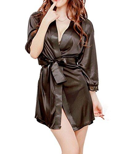 DDLBiz® 1pc Frauen klassische Bademantel reine Rollenspiele Dessous Pyjamas