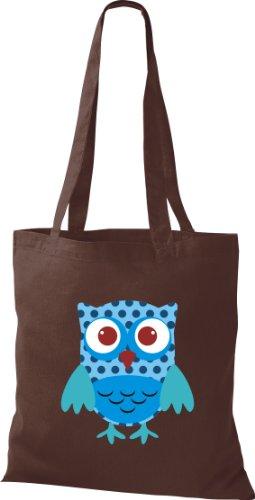 Stoffbeutel Bunte Eule niedliche Tragetasche mit Punkte Owl Retro diverse Farbe braun