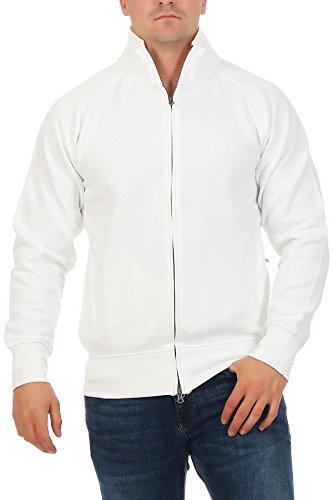 Herren Sweatjacke ohne Kapuze Zip-Jacke Reißverschluss mit Kragen, Größe:M, Farbe:Weiß Baumwolle Jacke Männer