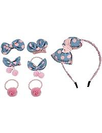 Stoff Haarspange Haarklammer Set Kinder Mädchen Baby rosa Fuchs Schleife Blume