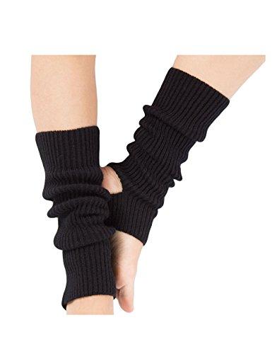 Legou Damen Mädchen Warme Beinstulpen Stricken Stiefel Manschetten Socken Warmers Socks Cuffs Knie Schwarz Einheitsgröße