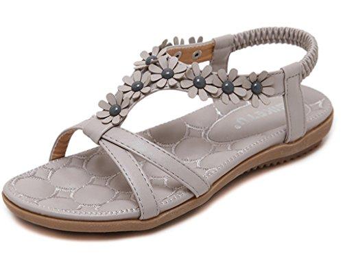 Minetom Damen Maedchen Sommer Sandalen Böhmen Blumen Strandschuhe Peep Toe Pantoffeln Grau