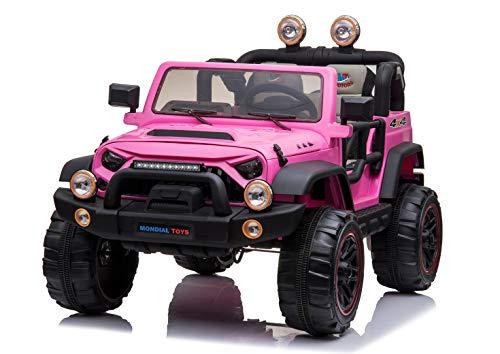 Mondial Toys Auto ELETTRICA 12V per Bambini 2 POSTI Maxi Fuoristrada con Telecomando 2.4G Soft Start AMMORTIZZATORI Full Optional MT-018 Pink