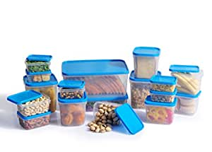 All Time Polka Small Container Set, 17-Pieces, Blue