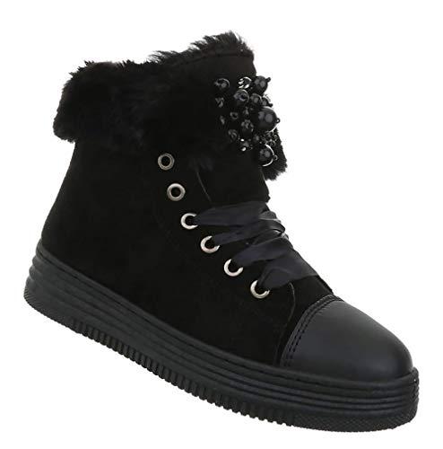 Damen Stiefeletten| Warme Winter Boots | Dick gefüttere Schnee Stiefel | Winterschuhe Kunst-Fell | Scheestiefel | Perlen Busch | Schwarz 37