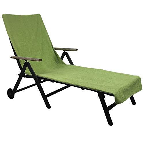 Schonbezug für Gartenliege 75 x 200 cm - Liegenschonbezug Diamant - Strandliegenauflage für Gartenliegen, Strandliegen oder Badeliegen - Frottee Schonbezug aus 100% Baumwolle, Farbe:Grün