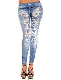 Stretch-Leggings Damen Jeans Look Legging Hose Leggings Leggins Treggings Jeggings Damen Leggings mit Destroyed Look Jeans Print