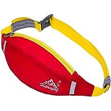 Unisex Multifuncional Resistente al agua nylon riñonera bolsa de cintura paquetes dinero bolsa de cadera con ajustable Cintura Cinturón para deportes al aire libre gimnasio correr senderismo camping Pesca Bicicleta, Beautiful red