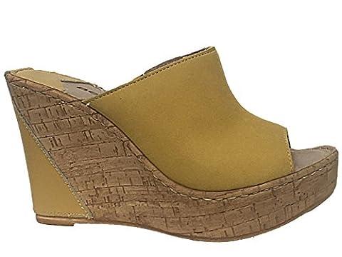 Ladies Aeros Luxury Italian Real Leather Peep Toe Slip On Cork Effect Wedge Heel Summer Sandals Mules Size 3-8 (UK 6, Gold)