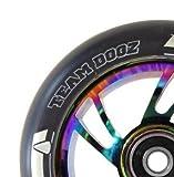 Paar Team Dogz Regenbogen neochrome Aluminium-Kern 100mm Stunt Scooter Rad mit gemischten PU und abec11 Lager - Regenbogen Core, schwarz PU