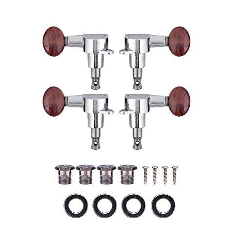 Dilwe Ukulele String Tuning Pegs, 2L2R Geschlossene Locking Tuner Rot Runde Mechaniken für Ukulele