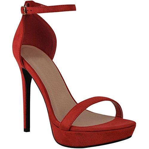 Damen High Heels - Plateau-Sohle - hoher Absatz Rot Veloursleder-Imitat