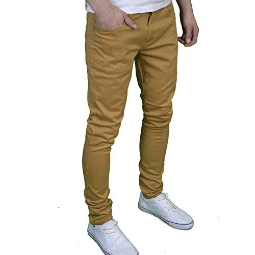 SoulStar Herren-/Jungen-Jeans, Designer-Marke, Skinny Fit, Stretch Beige