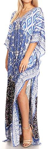 Sakkas Anahi Flowy Design V collo lungo vestito caftan / copertura in su con strass 17185-Nero / Bianco / Blu