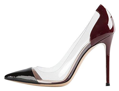 uBeauty Femmes Aiguille Talon Stilettos Slip On Escarpins Transparent Chaussures Enfiler Grande Taille violet c
