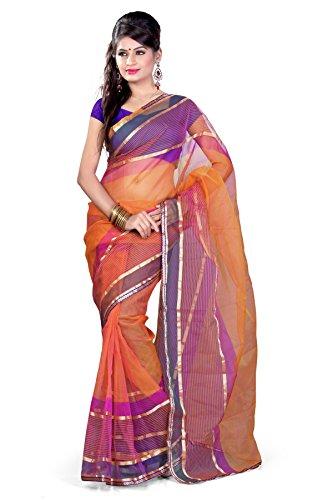 Araham Orange Light Weight Faux Tissue Saree Sari with Blouse