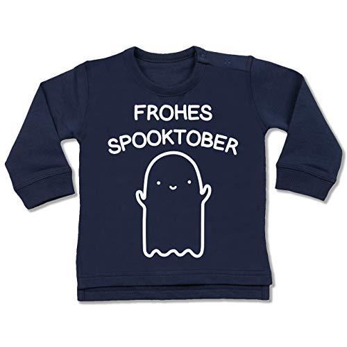 Shirtracer Anlässe Baby - Frohes Spooktober Halloween - 6-12 Monate - Navy Blau - BZ31 - Baby Pullover