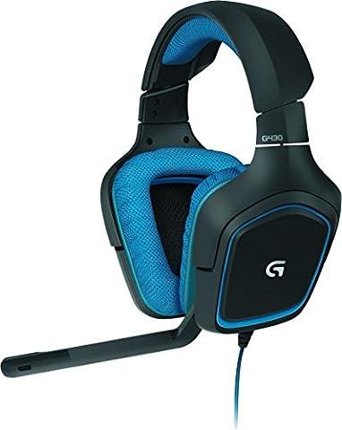 Logitech G430 Casque Gaming 7.1 Surround Pro Gaming pour PC, PS4) Bleu/Noir