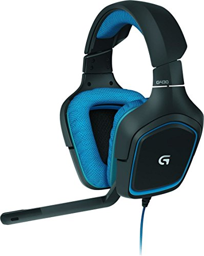 Logitech G430 Casque Gaming pour PC, PS4, Xbox et Switch (7.1 Surround Pro Gaming) - Bleu/Noir