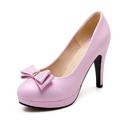VogueZone009 Damen Hoher Absatz Eingelegt Ziehen auf Weiches Material Rund Zehe Pumps Schuhe, Pink, 38