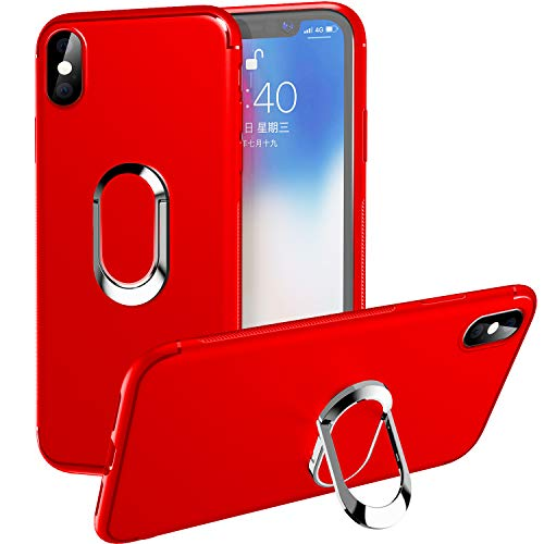 "iPhone Xs Max Case,WATACHE Slim Fit Soft TPU Case with 360 Degree Rotation Metal Ring Grip Holder Stand [Work with Magnetic Car Mount] for Apple iPhone Xs Max (6.5"") - Red"