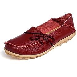 Oriskey Mocasines de cuero mujer Loafers Casual Zapatos Zapatillas 36