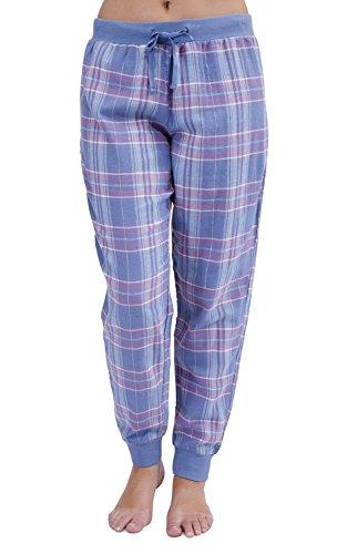Damen Mädchen Damen Cuffed Karo Design blau pink Lounge Hose Pants Hosen Schlafanzug Nachtwäsche–Größe UK 8�?8 Blau