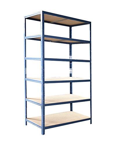 Steckregal 200x80x40 cm blau 6 x 175 kg Böden Regal Schwerlastregal Kellerregal Lagerregal Metallregal Regalsysteme