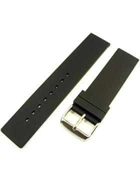 ZeitPunkt-Silikonband glattes design schwarz 20 mm