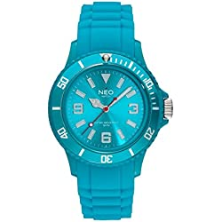 NEO watch 'NICE-1' turquoise unisex wristwatch with silicone strap - N1-019