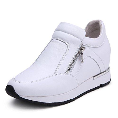 GRRONG Scarpe Women 's Scarpe Basse Scarpe Casual Cuoio White